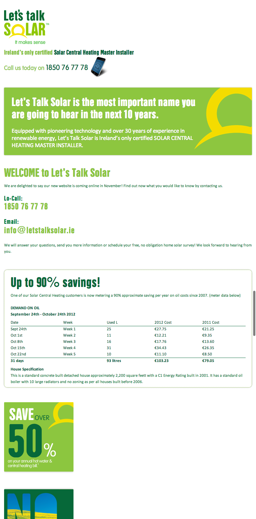 Screenshot of the Let's Talk Solar website without any layout, floating or widths